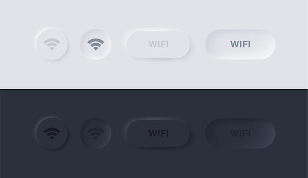 Neumorphismボタンのwifi信号アイコンまたはneumorphicuiと円のワイヤレスインターネット