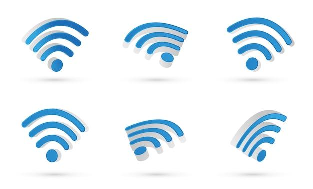 Wifiシンボル。 3dベクトル。モダンなスタイルとグラデーションカラー。さまざまなビューが浮かんでいます。