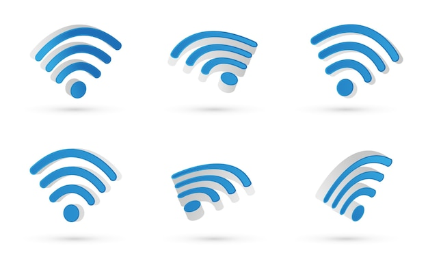Wifi symbol. 3d vector. modern style and gradient colors. different views floating.