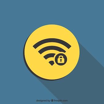 Sfondo di simbolo wifi in disegno piatto con un lucchetto