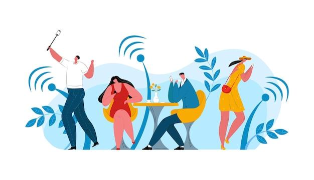 Технология wi-fi для людей, векторные иллюстрации. плоский мужчина женщина персонаж использует смартфон с интернетом, мобильным сетевым сообщением. люди сидят за столиком в кафе, телефонная связь онлайн.