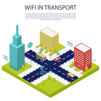 Wifi in transport public concept banner, isometric style