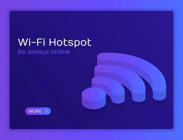 Wifi 무선 아이소메트릭 평면 그림 개념입니다. 항상 온라인 상태를 유지하십시오.