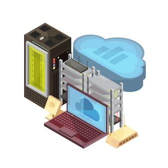 データクラウド、ラップトップ、ホスティングサーバー、ルーター、白い背景の上のwifi等尺性組成