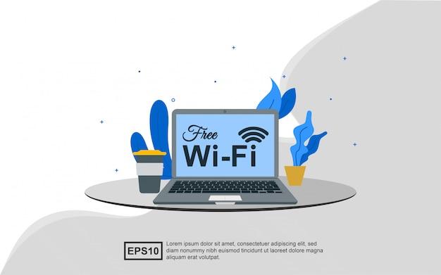 Концепция иллюстрации свободной публики зоны wifi.