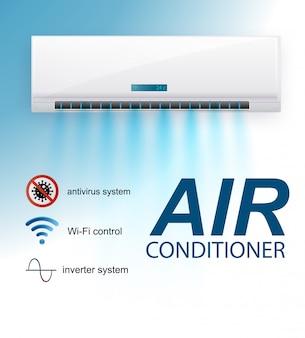 Сплит система кондиционера, инвертор. реалистичная система кондиционирования с wifi-контролем через интернет, антивирусными функциями и дистанционным управлением. система климат-контроля иллюстрации