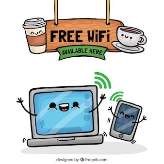 Цветной wifi фон с веселыми персонажами