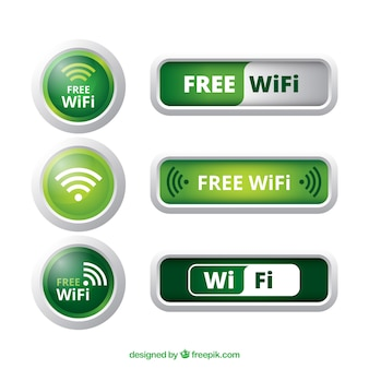 Различные кнопки wifi в зеленых тонах
