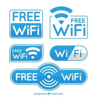 Белые и синие стикеры wifi в плоском дизайне
