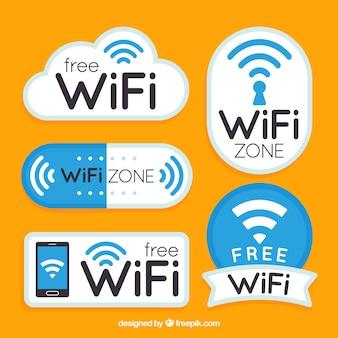 Плоская коллекция фантастических стикеров wifi