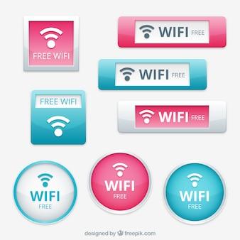 Пакет синих и розовых кнопок wifi