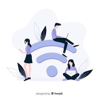 信号とフラットのwifiゾーンのコンセプト