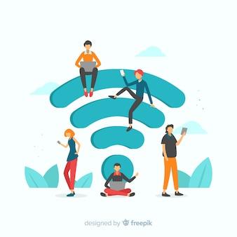 フラットデザインwifiネットワークコンセプト