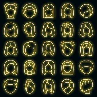 Набор иконок парик. наброски набор париков векторных иконок неонового цвета на черном
