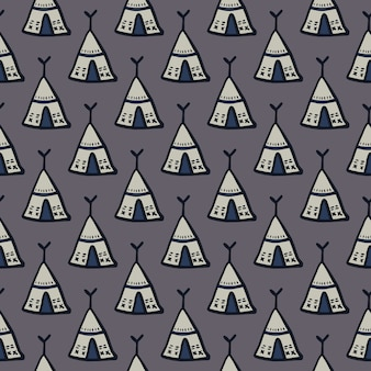 Wigwam ornament seamless doodle pattern. simple tribal elements on dark grey background.