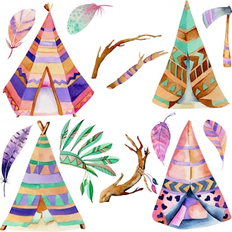 Wigwams and authentic native american elements collection