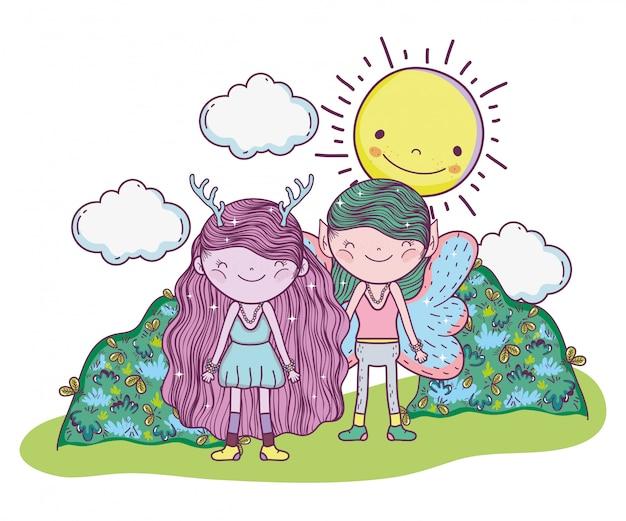少女と少年の幻想的な生き物wih sun