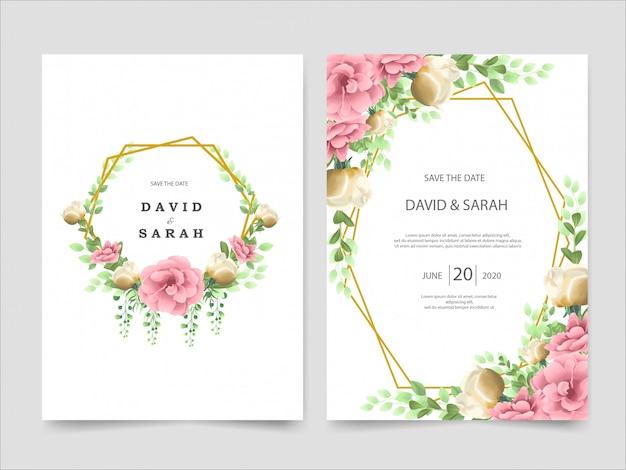 結婚式の招待カードwih美しい花