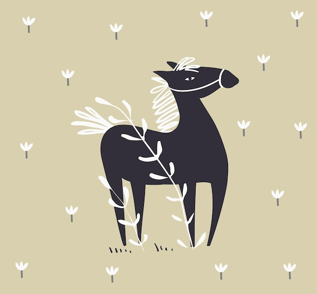 Wild abstract horse in the field with flowers scandinavian style monochrome hand drawn horse design