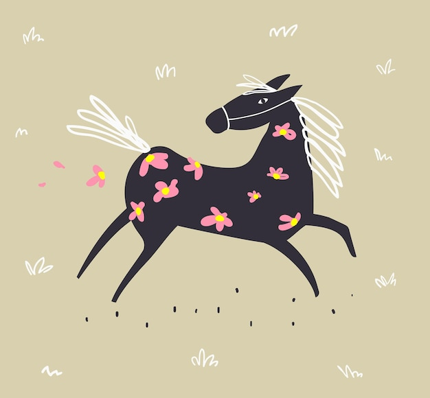 Wild abstract horse running in the field with flowers scandinavian style freehand doodle animal