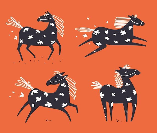 Дикая абстрактная лошадь бежит в поле с цветами, рисующими животных от руки в скандинавском стиле