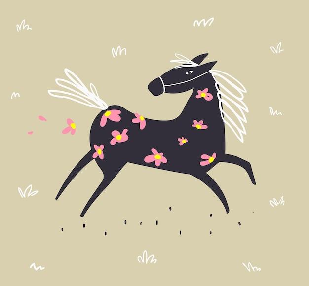 Дикая абстрактная лошадь, бегущая в поле с цветами, скандинавское животное от руки каракули