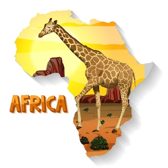地図上の野生のアフリカの動物