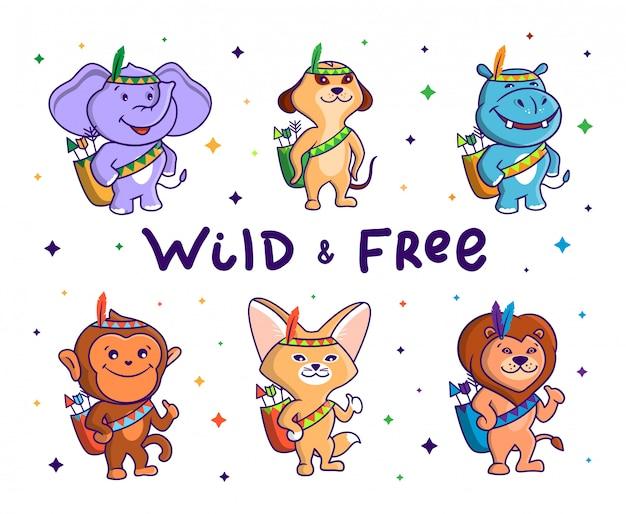 야생 및 무료 동물 세트. 민족 의상을 입고 화살표가있는 가방을 들고 6 명의 아프리카 만화 캐릭터.