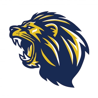 Wild angry blue yellow lion head mascot