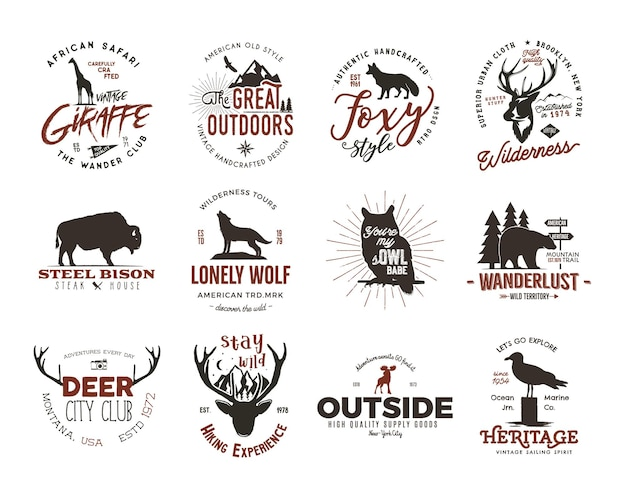 Wild animal badges set and great outdoors activity insignias. retro illustration of animal badges. typography camping style. vector animal badges logos with letterpress effect. custom explorer quotes