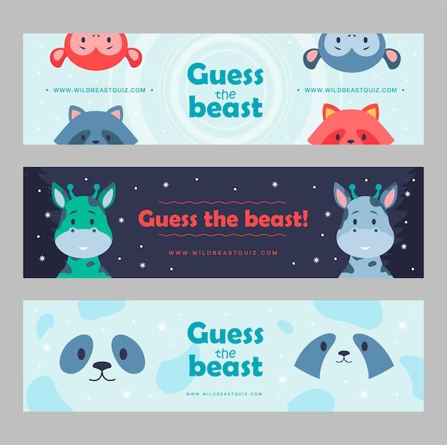 Набор баннеров диких животных иллюстрации шаржа. милые звери для детского клуба, дикая викторина. панда, обезьяна, енот, жираф персонажи в плоском красочном дизайне. игра, животное, природа, зоопарк, концепция цирка
