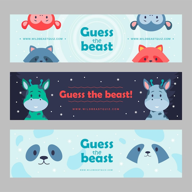 Wild animal banners set cartoon  illustration. cute beasts for kids club, wild quiz. panda, monkey, racoon, giraffe characters in flat colorful design. game, animal, nature, zoo, circus concept