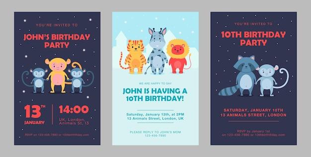 野生動物の誕生日の招待状は、漫画のイラストを設定します。誕生日パーティーのためのかわいい獣のテンプレート。カラフルなデザインのライオン、パンダ、サル、キリンのキャラクター。パーティー、動物、自然の概念
