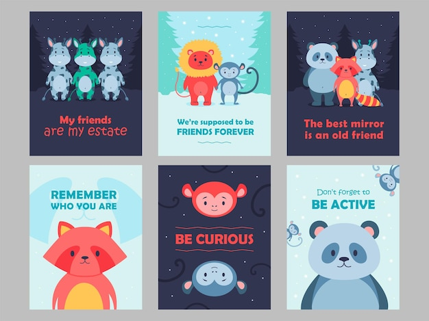 野生動物カードは漫画イラストを設定します。心に強く訴える引用符を持つ子供のためのかわいい獣。フラットでカラフルなデザインのライオン、パンダ、サル、キリンのキャラクター。ゲーム、動物、自然、コンセプト