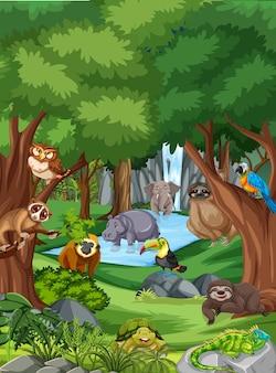 森のシーンで野生動物の漫画のキャラクター