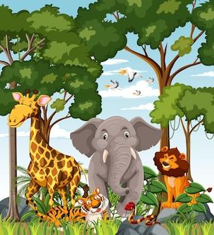 숲 장면에서 야생 동물 만화 캐릭터