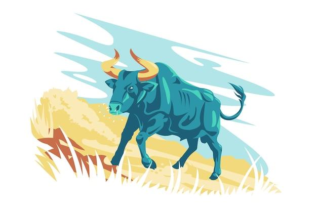 野生動物のキャラクターオーロックスベクトルイラスト2つの角と小さな尾フラットスタイルの野生の自然と水牛の生き物の概念が分離された緑色のオーロックス動物