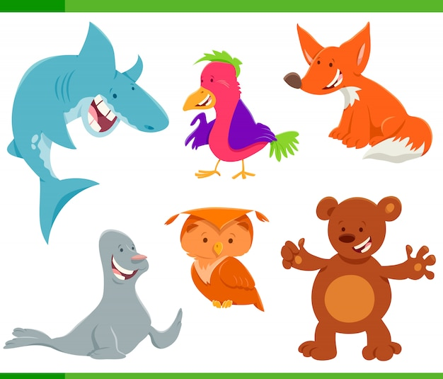 Wild animal characters cartoon set