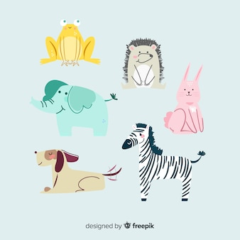Wild animal collection in children's style