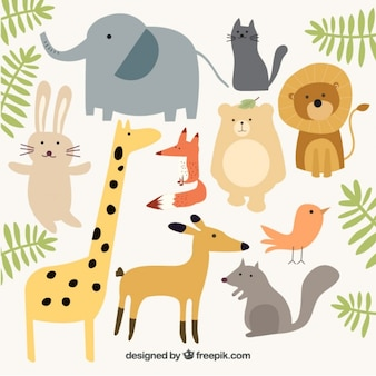 Wild animal collection with green leaves