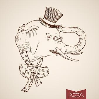 땡땡이 무늬 넥타이와 실린더 모자 활에 야생 동물 코끼리 머리 옷 액세서리.