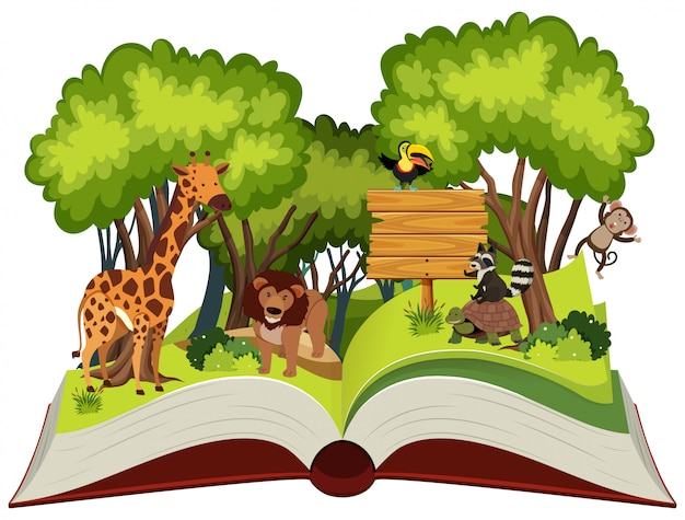 Wild animal and jungle theme pop up book