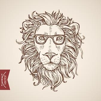 Дикое животное лев портрет хипстерский стиль человеческой одежды аксессуар в очках.