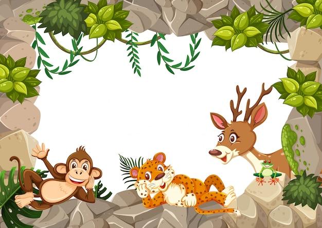 Wild animal on nature template