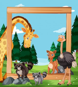 木製のフレーム上の野生動物