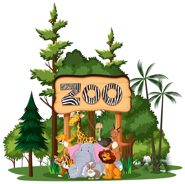 白い背景に自然の要素を持つ野生動物や動物園の動物グループ
