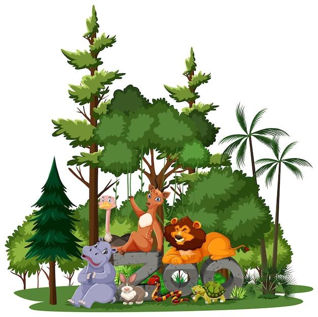 白い背景の上の自然要素を持つ野生動物または動物園の動物グループ