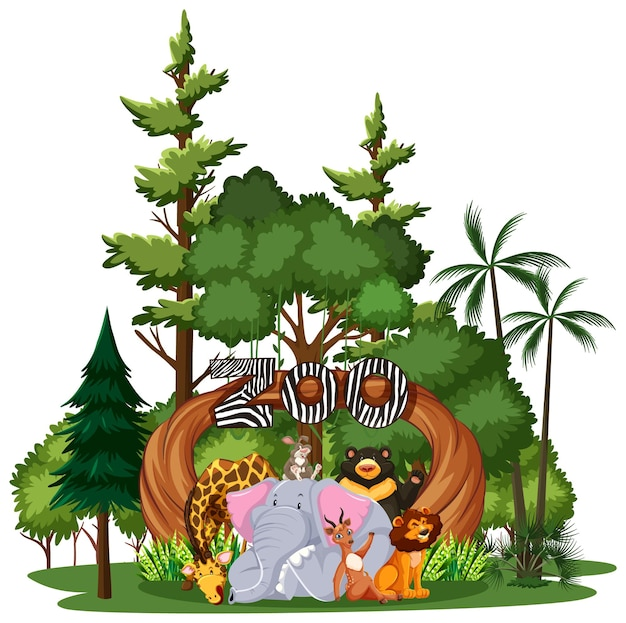 흰색 바탕에 자연 요소와 야생 동물 또는 동물원 동물 그룹