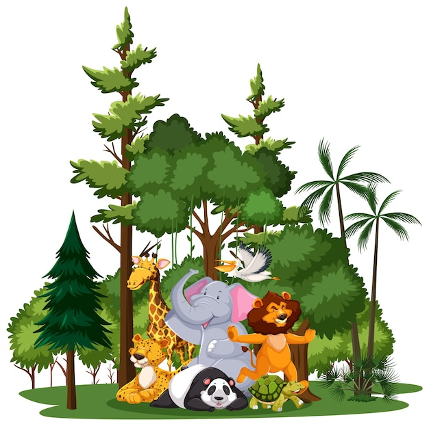자연 요소가있는 야생 동물 또는 동물원 동물 그룹