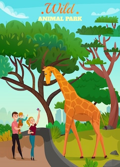 Wild animal park illustration